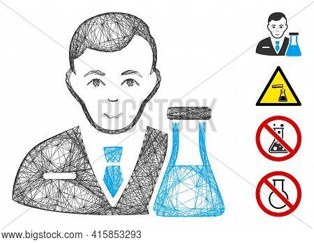 Vector Wire Frame Chemistry Man. Geometric Wire Carcass 2d Net Generated With Chemistry Man Icon, De