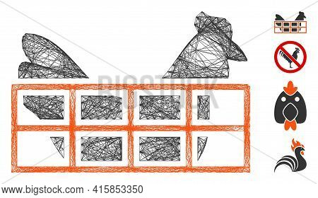Vector Net Chicken Cage. Geometric Wire Carcass 2d Net Made From Chicken Cage Icon, Designed From Cr