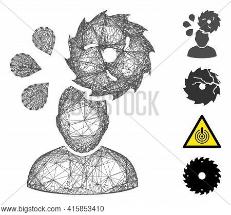 Vector Wire Frame Circular Saw Accident. Geometric Wire Frame Flat Net Based On Circular Saw Acciden