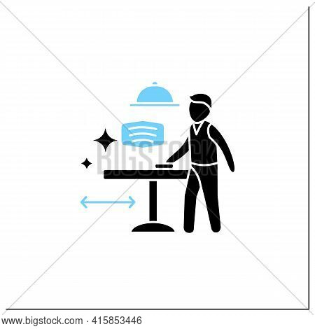 Disinfection Glyph Icon.employee Disinfect Tables. Wet Cleaning.furniture Disinfect.regulation Throu