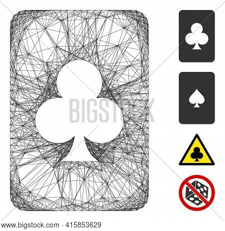 Vector Network Clubs Gambling Card. Geometric Linear Carcass 2d Network Generated With Clubs Gamblin