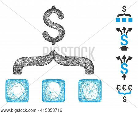 Vector Wire Frame Collect Money. Geometric Wire Carcass 2d Network Generated With Collect Money Icon