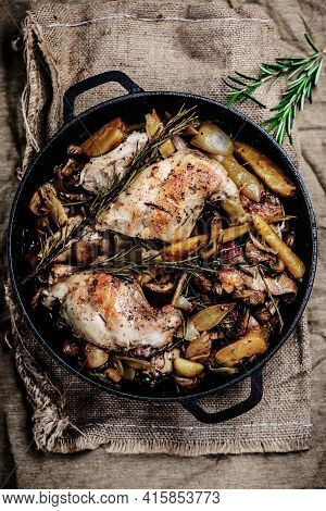 Rabbit Stew With Mushrooms.style Rustic. Selective Focus