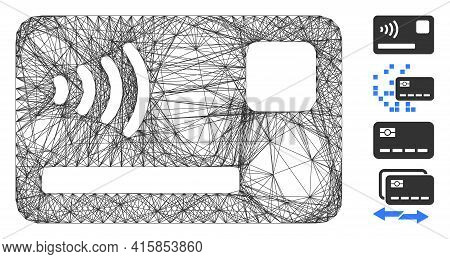Vector Net Contactless Payment Card. Geometric Linear Frame Flat Net Generated With Contactless Paym