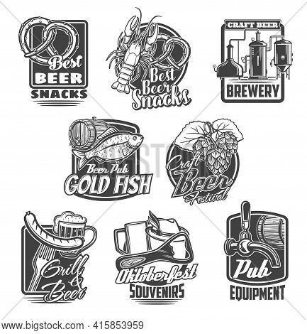 Beer Brewing Festival, Pub Snacks Vector Icons. Craft Beer Brewery, Oktoberfest Souvenirs And Pub Eq