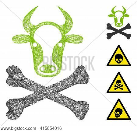 Vector Wire Frame Cow Death. Geometric Wire Frame 2d Net Generated With Cow Death Icon, Designed Fro