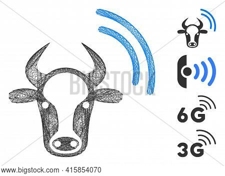 Vector Network Cow Radio Signal. Geometric Wire Frame Flat Network Generated With Cow Radio Signal I