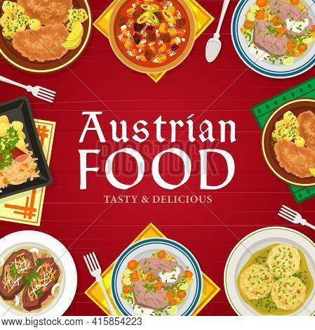 Austrian Food Cuisine Menu Vector Cover. Sauerkraut With Sausage And Potato, Wiener Schnitzel, Meat