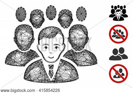 Vector Wire Frame Crowd. Geometric Wire Frame Flat Net Based On Crowd Icon, Designed With Crossing L