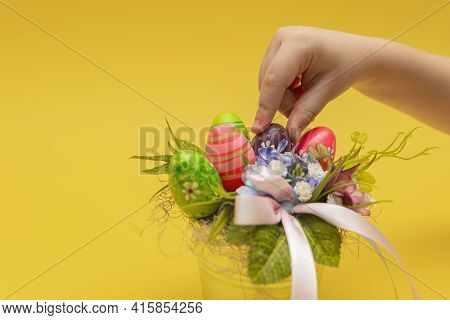 Easter Bouquet, Postcard For Printing, Gift Bouquet In A Bucket For Easter. Childrens Hand Makes A D