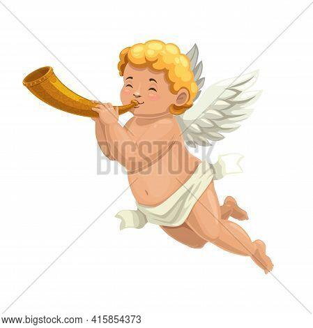 Cupid Angel Or Amur Cartoon Character Blowing Horn. Vector Valentines Day Cherub Or Cupid Angel Play