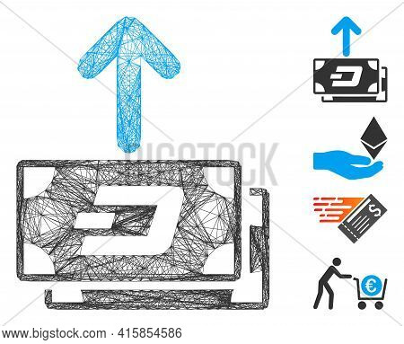 Vector Wire Frame Dash Banknotes Pay Out. Geometric Wire Frame Flat Network Based On Dash Banknotes