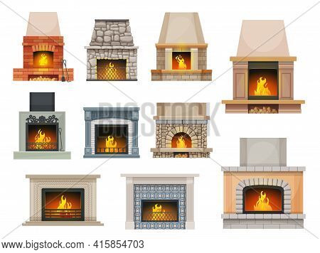 House Fireplace With Firewood Flames. Home Open Cartoon Vector Hearth Fireplaces Made Of Bricks, Sto