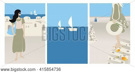 Vector Set Summer Vacation Theme And Inspiration. Beautiful Girls Tourists And Abstract Place, Villa