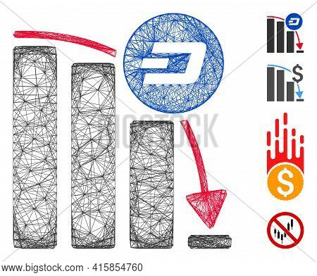 Vector Wire Frame Dashcoin Epic Fall Chart. Geometric Linear Frame Flat Network Based On Dashcoin Ep