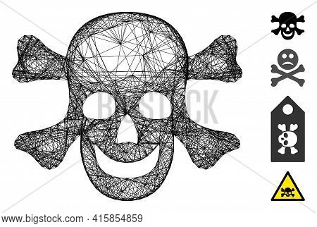 Vector Wire Frame Death. Geometric Wire Frame 2d Net Made From Death Icon, Designed From Intersected