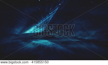 Futuristic Fantasy Night Landscape With Abstract Landscape And Island, Moonlight, Radiance, Moon, Ne