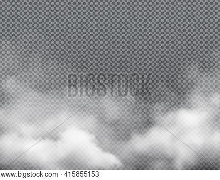 Fog Smoke, Mist Steam Clouds Background, Transparent White Smog, Vector Effect. Smoke Fog Or Spooky