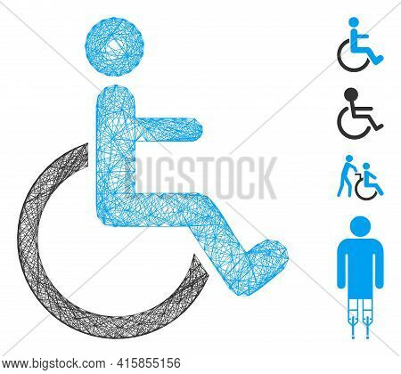 Vector Wire Frame Disabled Person. Geometric Wire Frame Flat Network Based On Disabled Person Icon,
