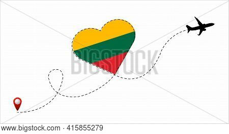 Airplane Flight Route With The Lithuania Flag Inside The Heart. Travel To Your Beloved Country. Vect