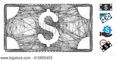 Vector Net Dollar Banknote. Geometric Linear Carcass Flat Net Generated With Dollar Banknote Icon, D