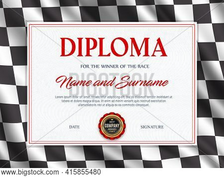 Diploma Certificate Race Sport Winner, Vector Template. Racing Checkered Flag Background Frame. Achi