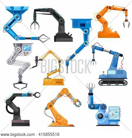 Industrial Robotic Arms Of Robot Manipulator, Vector. Manufacturing Automation Technology. Industria