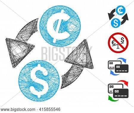 Vector Net Dollar Cent Exchange. Geometric Wire Frame 2d Net Made From Dollar Cent Exchange Icon, De