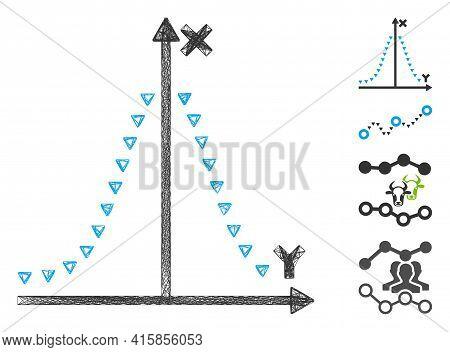 Vector Network Dotted Gauss Plot. Geometric Wire Carcass Flat Network Made From Dotted Gauss Plot Ic