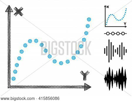 Vector Wire Frame Dotted Plot. Geometric Wire Frame Flat Network Made From Dotted Plot Icon, Designe