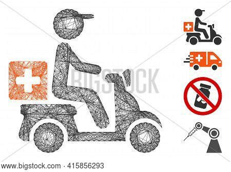 Vector Network Drugs Motorbike Delivery. Geometric Hatched Carcass Flat Network Made From Drugs Moto