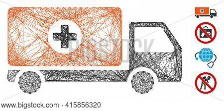 Vector Net Drugs Shipment. Geometric Linear Carcass 2d Net Made From Drugs Shipment Icon, Designed F