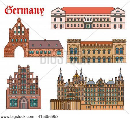 Germany Landmarks Architecture, Buildings Church And Cathedral In Schwerin And Wismar, Vector. Germa