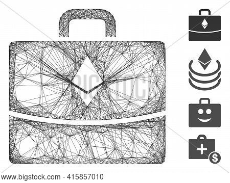 Vector Wire Frame Ethereum Accounting Case. Geometric Hatched Frame Flat Network Made From Ethereum