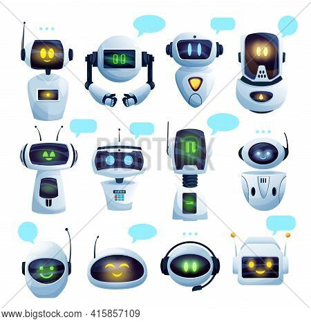 Chat Bot Or Chatbot Robot Cartoon Characters With Vector Speech Bubbles. Ai Robots Of Virtual Custom