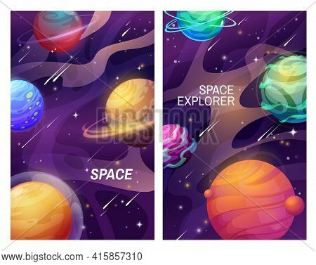 Space And Galaxy Universe Cartoon Planets, Vector Banners Of Space. Fantasy Alien Planets And Stars