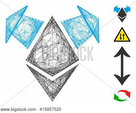 Vector Wire Frame Ethereum Spend Arrows. Geometric Linear Frame Flat Net Generated With Ethereum Spe