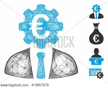 Vector Wire Frame Euro Banker. Geometric Hatched Frame 2d Net Made From Euro Banker Icon, Designed F