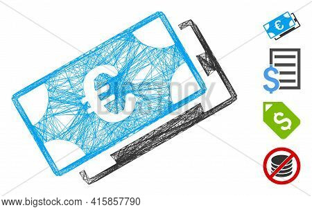 Vector Wire Frame Euro Banknotes. Geometric Wire Frame 2d Net Based On Euro Banknotes Icon, Designed