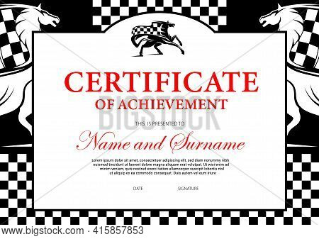 Certificate Of Achievement Or Participation For Horse Race Winner. Stallion Racing Award Border Desi