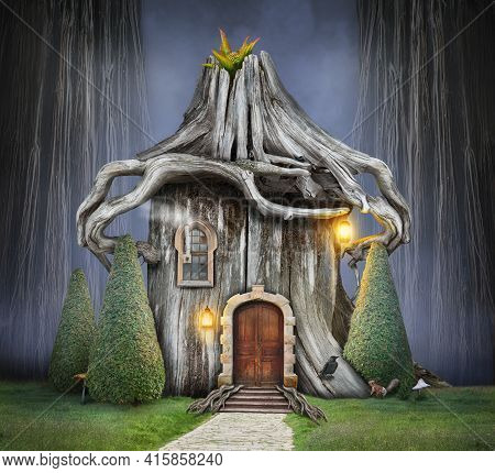 Fairy Tree House With Roof Of Roots And Old Door In Fantasy Forest