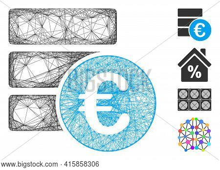 Vector Network Euro Database. Geometric Linear Frame 2d Net Generated With Euro Database Icon, Desig