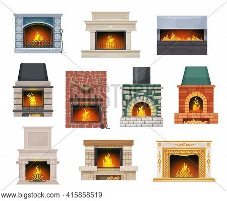 Modern And Classic Open Hearth Fireplaces Set. Fireplace With Stone, Brick And Marble Mantel Decorat