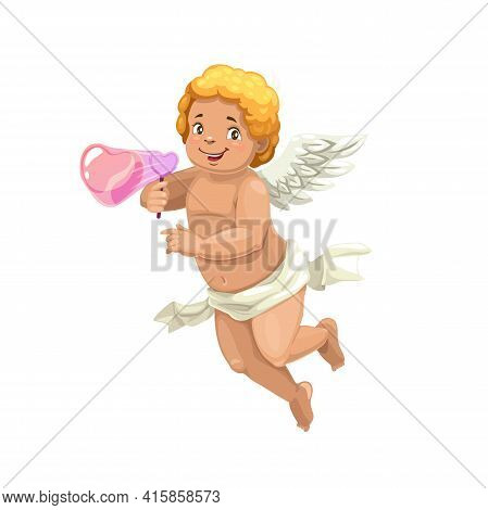 Cupid Blowing A Soap Bubble Heart, Vector Valentines Day Angel. Amur Or Cherub Cartoon Character Wit