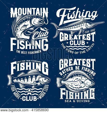 River And Marine Fishing Sport Club T-shirt Vector Print. Salmon Fish Catching Fishhook, Perch And M