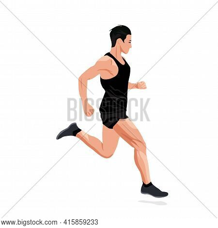 Running Sports Man Vector Stock Illustration. A Man In A Sports Uniform On A Treadmill. Marathon, Sp