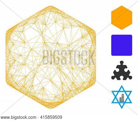 Vector Wire Frame Filled Hexagon. Geometric Wire Frame 2d Network Generated With Filled Hexagon Icon