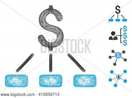 Vector Net Financial Hierarchy. Geometric Wire Carcass Flat Net Generated With Financial Hierarchy I
