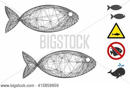 Vector Network Fish Pair. Geometric Hatched Carcass 2d Network Made From Fish Pair Icon, Designed Fr