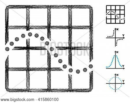 Vector Net Function Chart. Geometric Hatched Frame Flat Net Made From Function Chart Icon, Designed